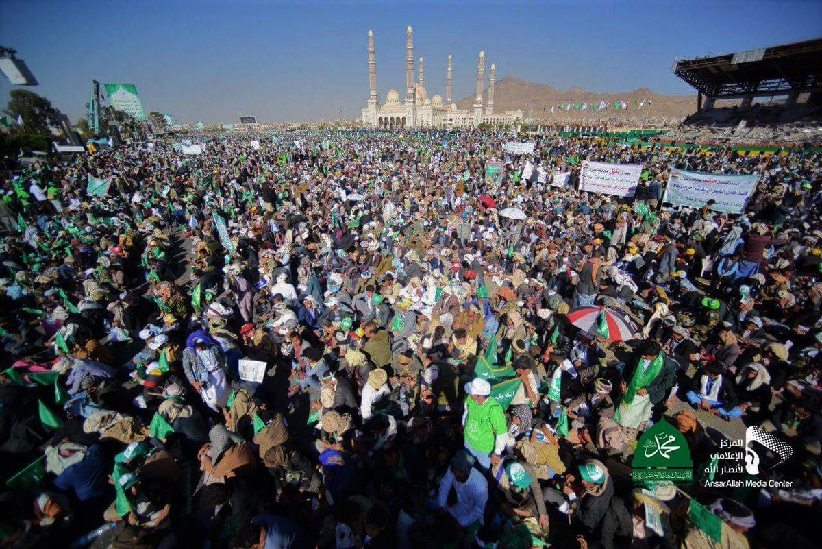 الشعب اليمني يحيي ذكرى ميلاد رسول الله محمد بحضور جماهيري حاشد في العاصمة صنعاء