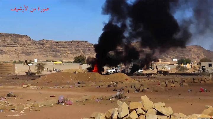 طيران العدوان يستهدف سيارة في حجه واستشهاد واصابة مواطنين
