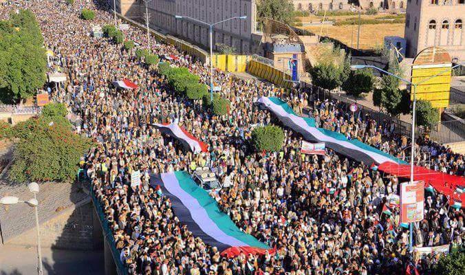 مسيرة جماهيرية كبرى في صنعاء وفاء للقدس تحت شعار
